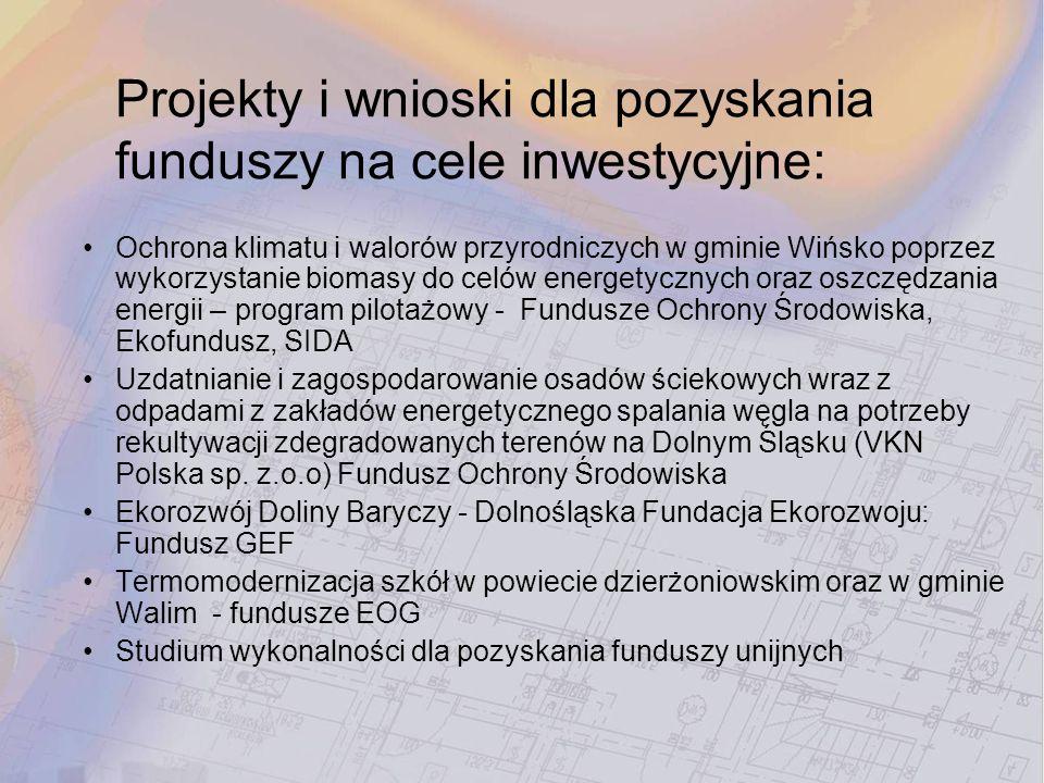 Projekty i wnioski dla pozyskania funduszy na cele inwestycyjne: Ochrona klimatu i walorów przyrodniczych w gminie Wińsko poprzez wykorzystanie biomas