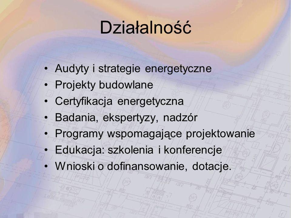 Działalność Audyty i strategie energetyczne Projekty budowlane Certyfikacja energetyczna Badania, ekspertyzy, nadzór Programy wspomagające projektowan