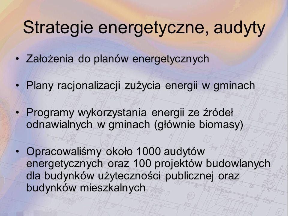 Strategie energetyczne, audyty Założenia do planów energetycznych Plany racjonalizacji zużycia energii w gminach Programy wykorzystania energii ze źró