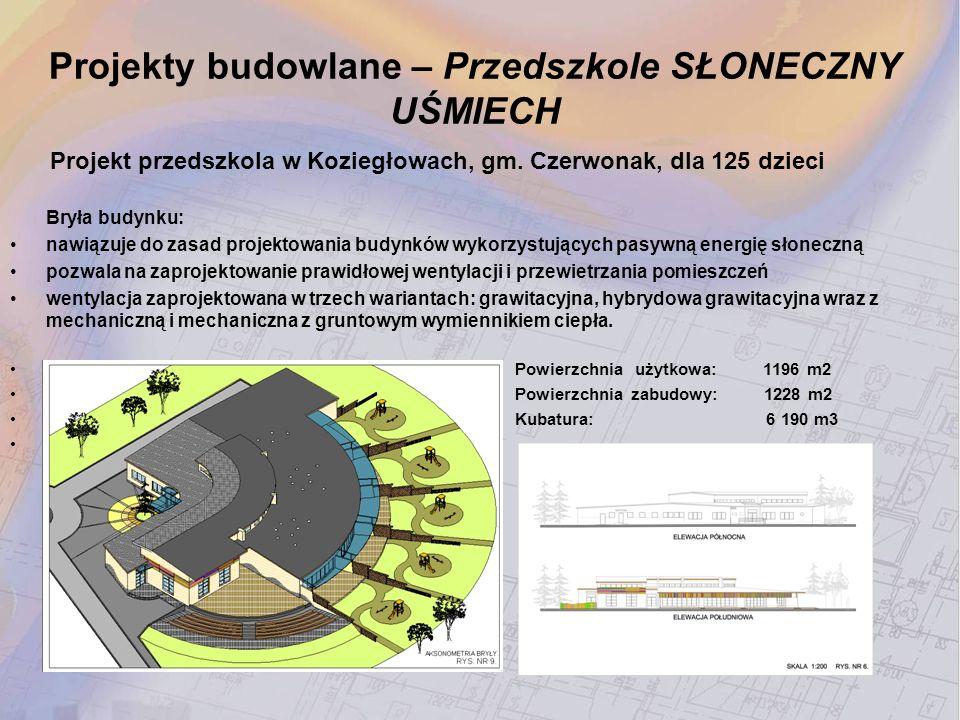 Projekt przedszkola w Koziegłowach, gm. Czerwonak, dla 125 dzieci Bryła budynku: nawiązuje do zasad projektowania budynków wykorzystujących pasywną en