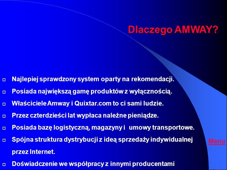 Oferta System Rekomendacji i prowizji od obrotu towarowego. Amway Polska Sp.z o.o. Amway co. Quixtar.com (USA, Kanada) Amivo Menu