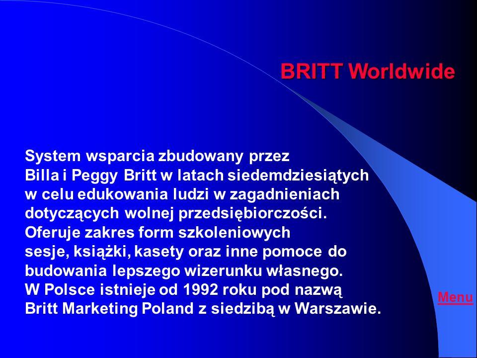 Oferta System szkoleń i motywacji Britt Marketing Poland Britt Worldwide B.W.W. ON LINE Menu
