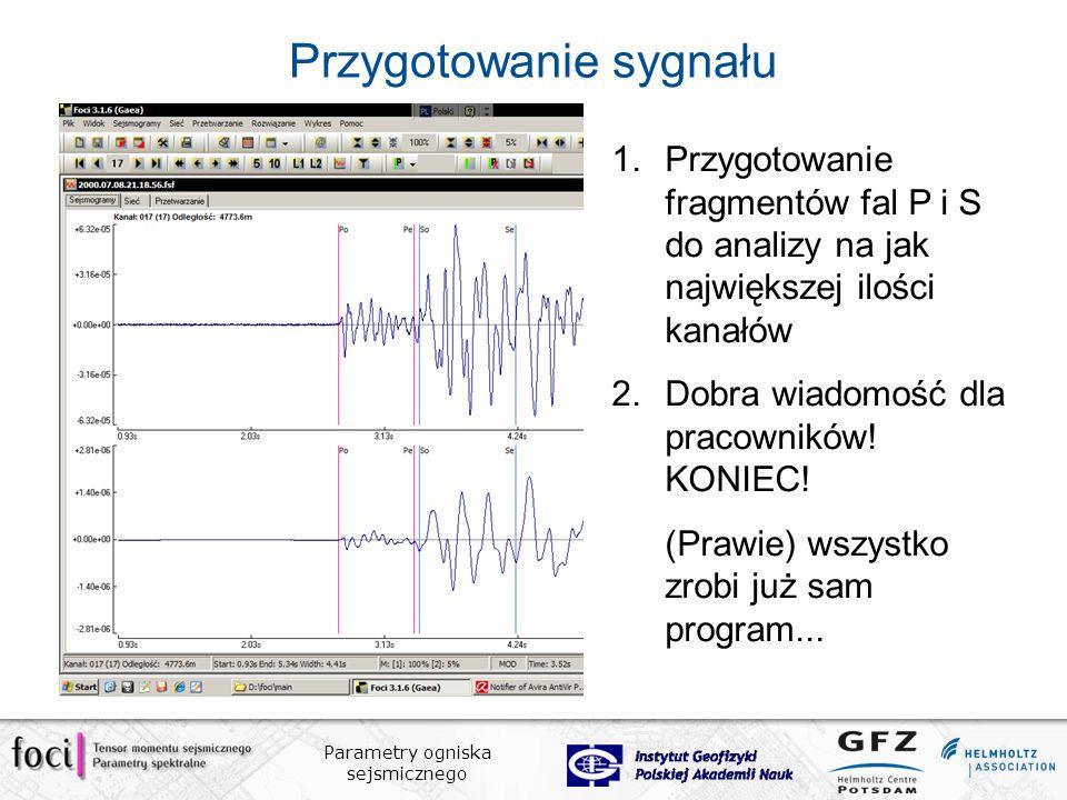 Parametry ogniska sejsmicznego Przygotowanie sygnału 1.Przygotowanie fragmentów fal P i S do analizy na jak największej ilości kanałów 2.Dobra wiadomość dla pracowników.