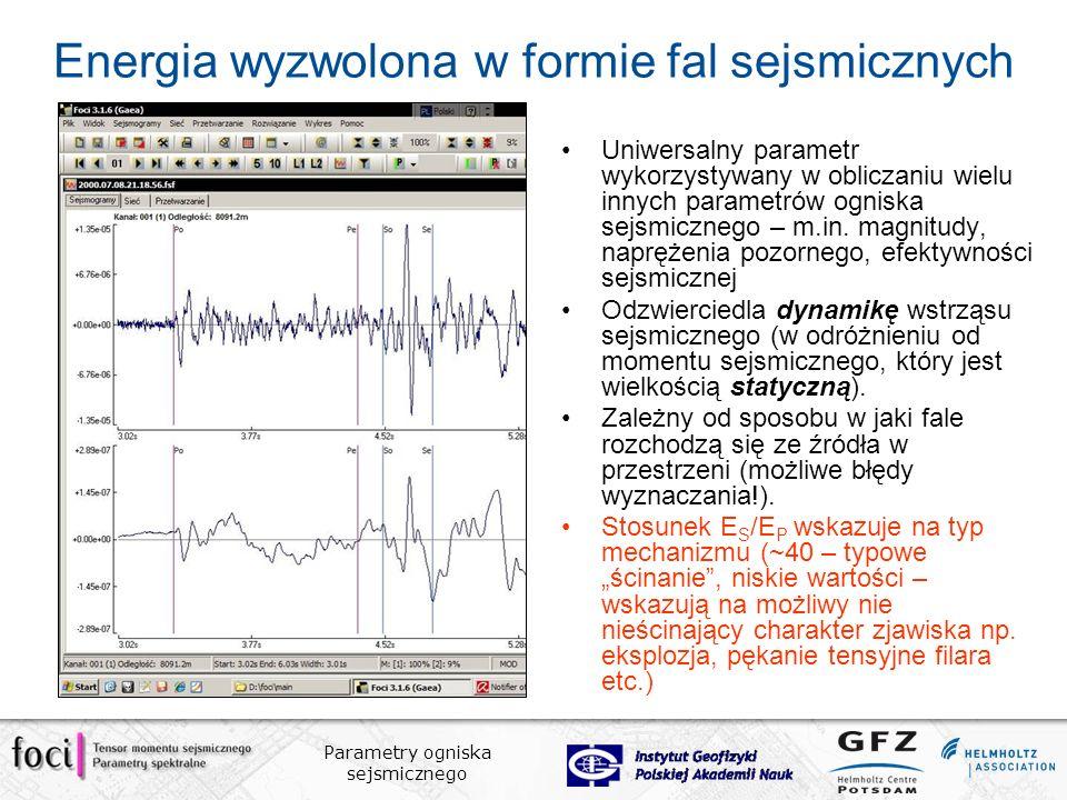 Parametry ogniska sejsmicznego Energia wyzwolona w formie fal sejsmicznych Uniwersalny parametr wykorzystywany w obliczaniu wielu innych parametrów ogniska sejsmicznego – m.in.
