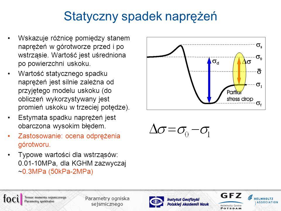 Parametry ogniska sejsmicznego Statyczny spadek naprężeń Wskazuje różnicę pomiędzy stanem naprężeń w górotworze przed i po wstrząsie.