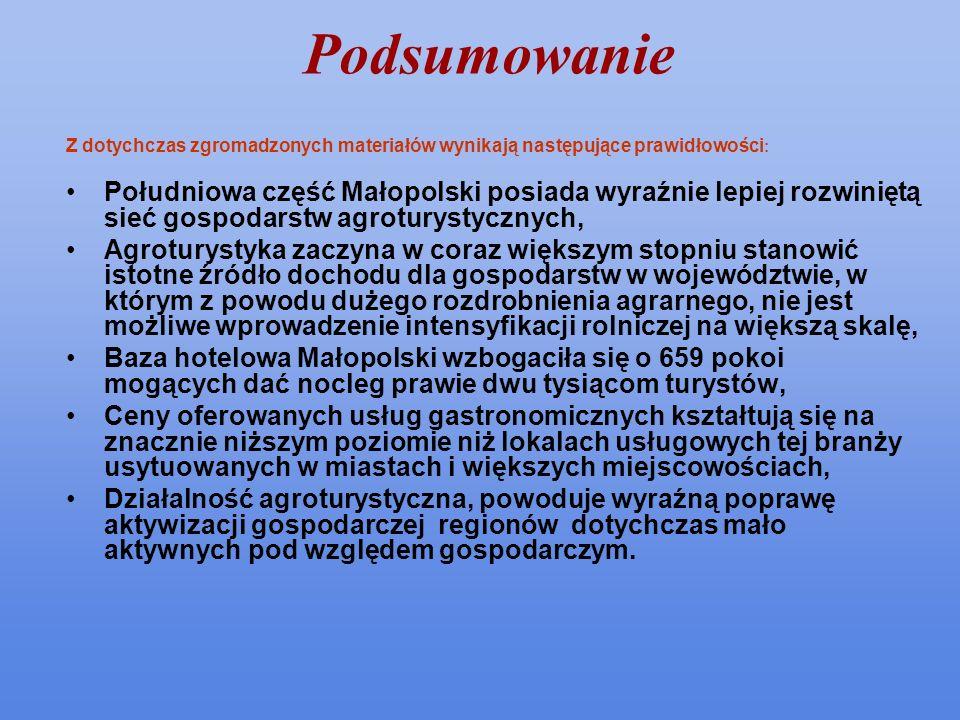 Podsumowanie Z dotychczas zgromadzonych materiałów wynikają następujące prawidłowości : Południowa część Małopolski posiada wyraźnie lepiej rozwiniętą