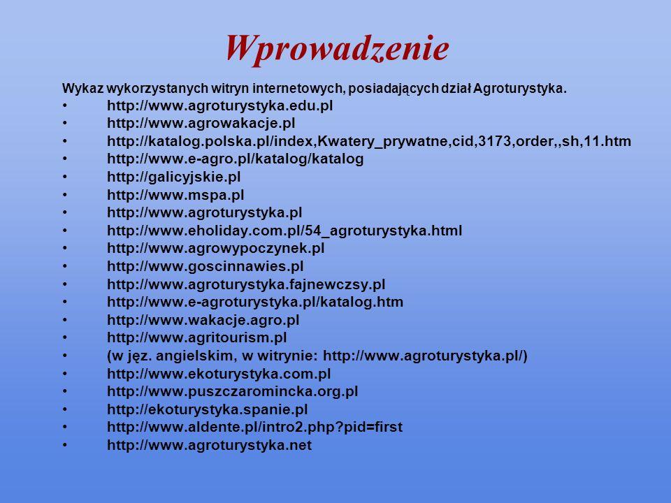 Wprowadzenie Wykaz wykorzystanych witryn internetowych, posiadających dział Agroturystyka. http://www.agroturystyka.edu.pl http://www.agrowakacje.pl h