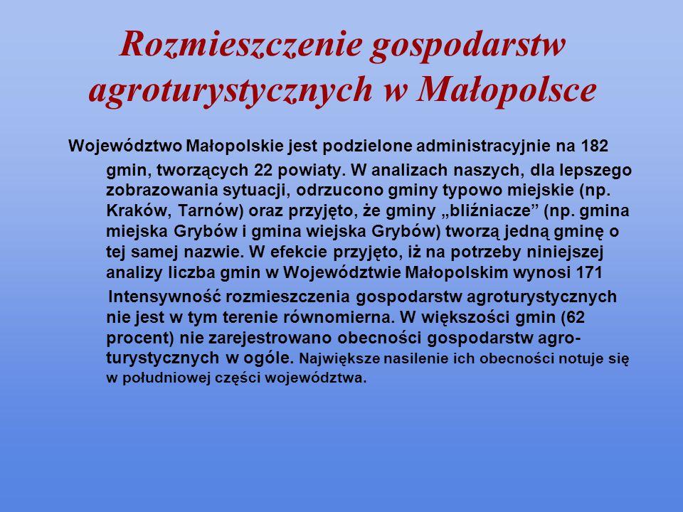 Rozmieszczenie gospodarstw agroturystycznych w Małopolsce Województwo Małopolskie jest podzielone administracyjnie na 182 gmin, tworzących 22 powiaty.