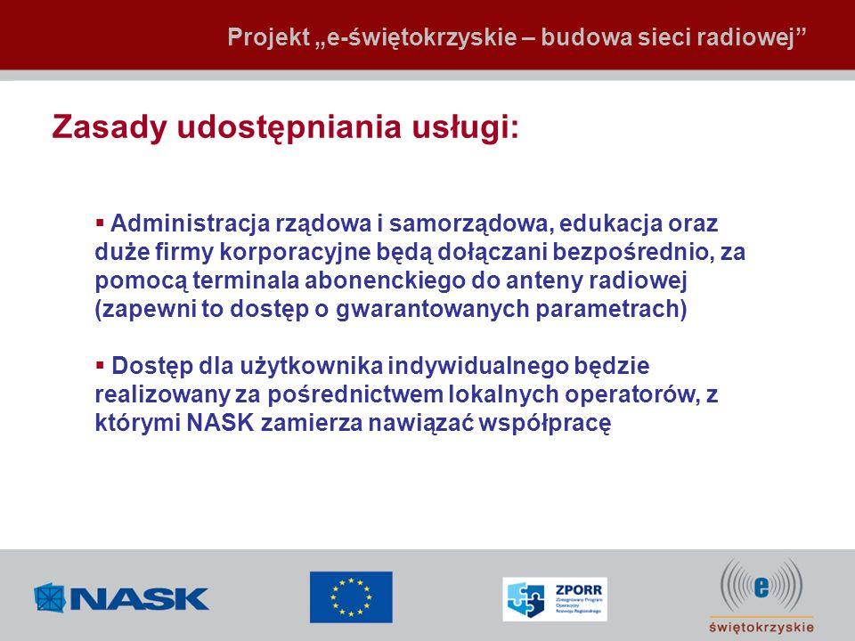 Zasady udostępniania usługi: Projekt e-świętokrzyskie – budowa sieci radiowej Administracja rządowa i samorządowa, edukacja oraz duże firmy korporacyj