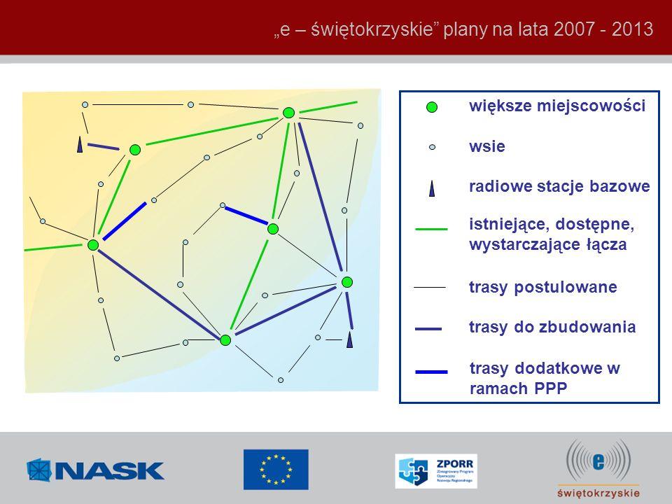 trasy do zbudowania trasy dodatkowe w ramach PPP większe miejscowości wsie radiowe stacje bazowe trasy postulowane istniejące, dostępne, wystarczające