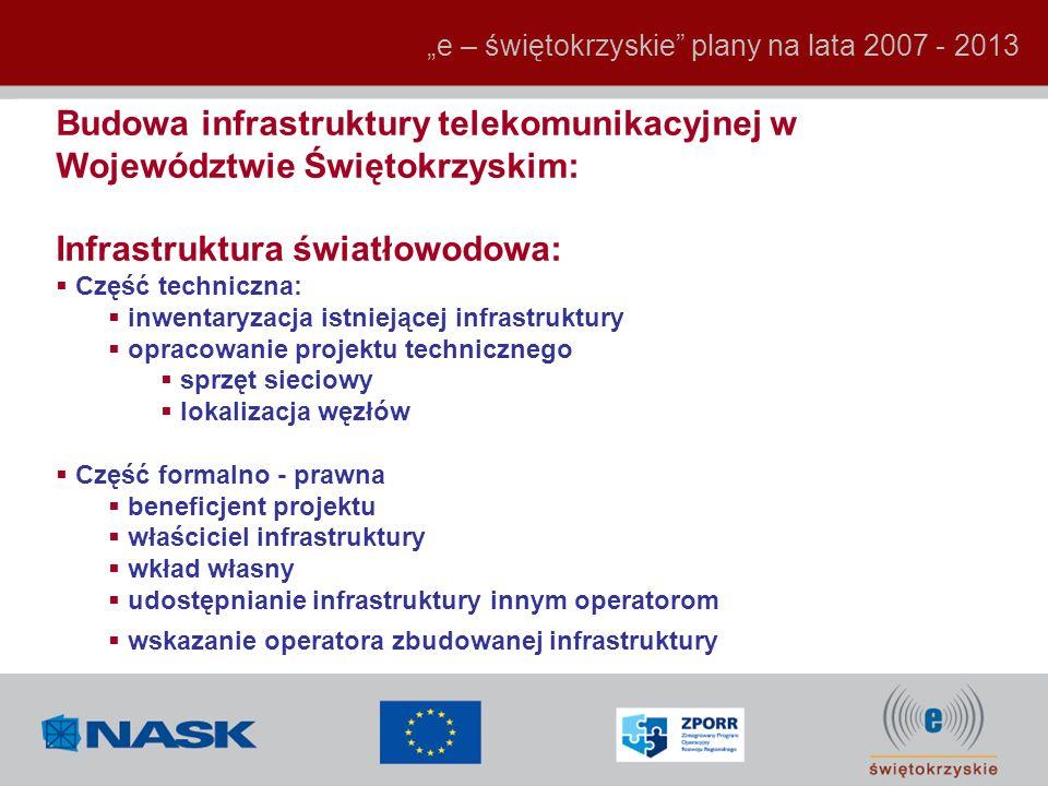 e – świętokrzyskie plany na lata 2007 - 2013 Budowa infrastruktury telekomunikacyjnej w Województwie Świętokrzyskim: Infrastruktura światłowodowa: Czę