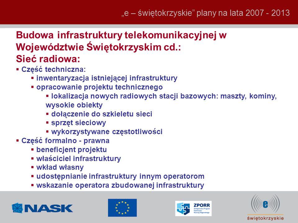 Budowa infrastruktury telekomunikacyjnej w Województwie Świętokrzyskim cd.: Sieć radiowa: Część techniczna: inwentaryzacja istniejącej infrastruktury