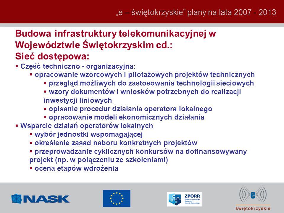 Budowa infrastruktury telekomunikacyjnej w Województwie Świętokrzyskim cd.: Sieć dostępowa: Część techniczno - organizacyjna: opracowanie wzorcowych i
