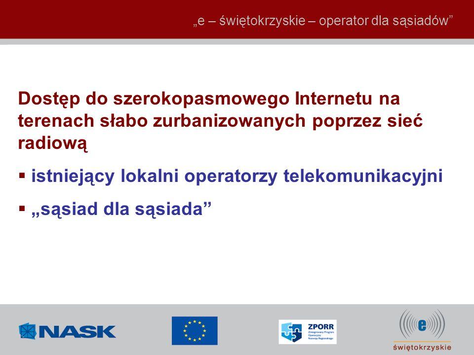 e – świętokrzyskie – operator dla sąsiadów Dostęp do szerokopasmowego Internetu na terenach słabo zurbanizowanych poprzez sieć radiową istniejący loka