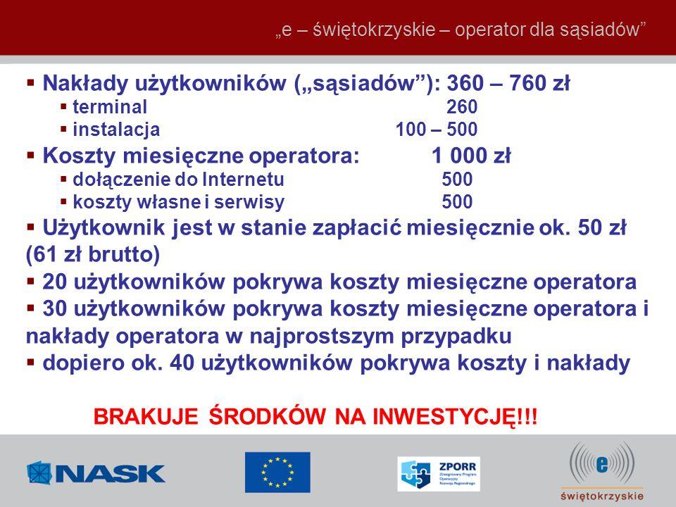 e – świętokrzyskie – operator dla sąsiadów Nakłady użytkowników (sąsiadów): 360 – 760 zł terminal 260 instalacja 100 – 500 Koszty miesięczne operatora