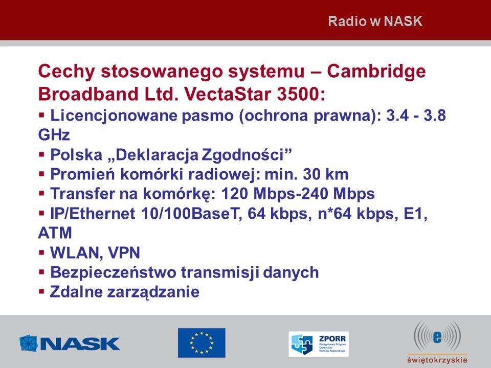 Cechy stosowanego systemu – Cambridge Broadband Ltd. VectaStar 3500: Licencjonowane pasmo (ochrona prawna): 3.4 - 3.8 GHz Polska Deklaracja Zgodności