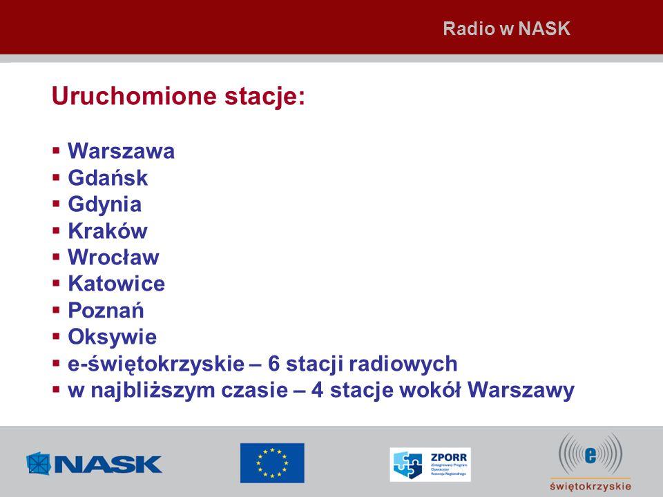 Uruchomione stacje: Warszawa Gdańsk Gdynia Kraków Wrocław Katowice Poznań Oksywie e-świętokrzyskie – 6 stacji radiowych w najbliższym czasie – 4 stacj