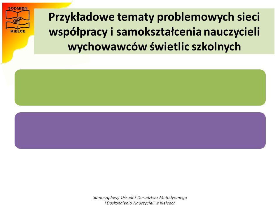 Przykładowe tematy problemowych sieci współpracy i samokształcenia nauczycieli wychowawców świetlic szkolnych Samorządowy Ośrodek Doradztwa Metodyczne