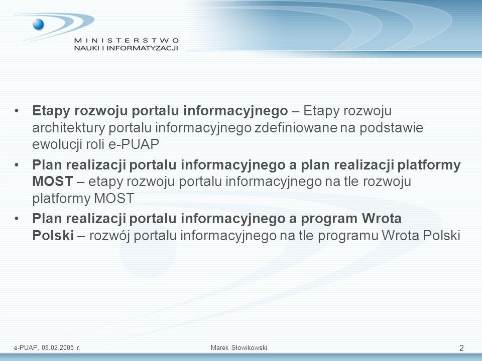 e-PUAP, 08.02.2005 r.Marek Słowikowski 2 Etapy rozwoju portalu informacyjnego – Etapy rozwoju architektury portalu informacyjnego zdefiniowane na pods