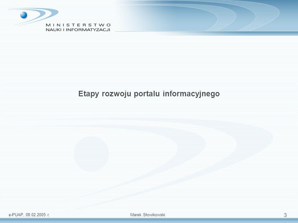 e-PUAP, 08.02.2005 r.Marek Słowikowski 14 Plan realizacji usług publicznych źródło: McKinsey wdrożenie portalu (etapy 0 i 1) wdrożenie portalu (2 etap) wdrożenie portalu (3 etap)