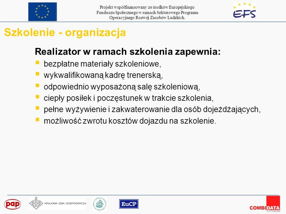 Projekt współfinansowany ze środków Europejskiego Funduszu Społecznego w ramach Sektorowego Programu Operacyjnego Rozwój Zasobów Ludzkich.
