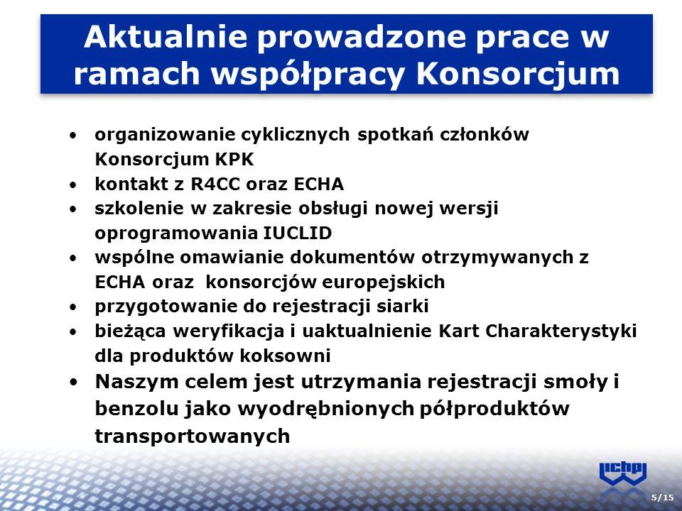5/15 Aktualnie prowadzone prace w ramach współpracy Konsorcjum organizowanie cyklicznych spotkań członków Konsorcjum KPK kontakt z R4CC oraz ECHA szko