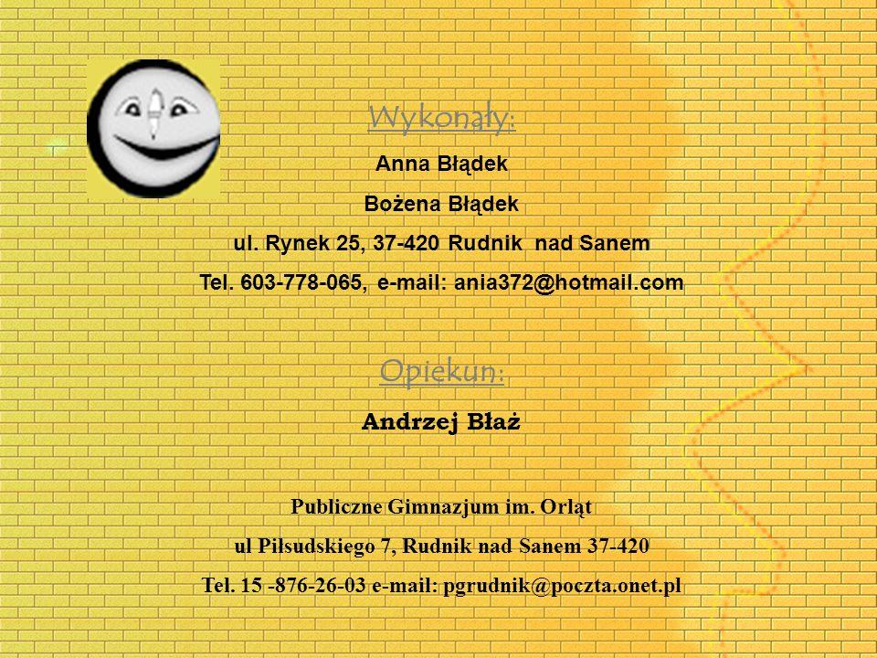 Wykonały: Anna Błądek Bożena Błądek ul. Rynek 25, 37-420 Rudnik nad Sanem Tel. 603-778-065, e-mail: ania372@hotmail.com Opiekun: Andrzej Błaż Publiczn