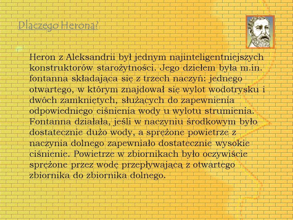 Heron z Aleksandrii był jednym najinteligentniejszych konstruktorów starożytności. Jego dziełem była m.in. fontanna składająca się z trzech naczyń: je