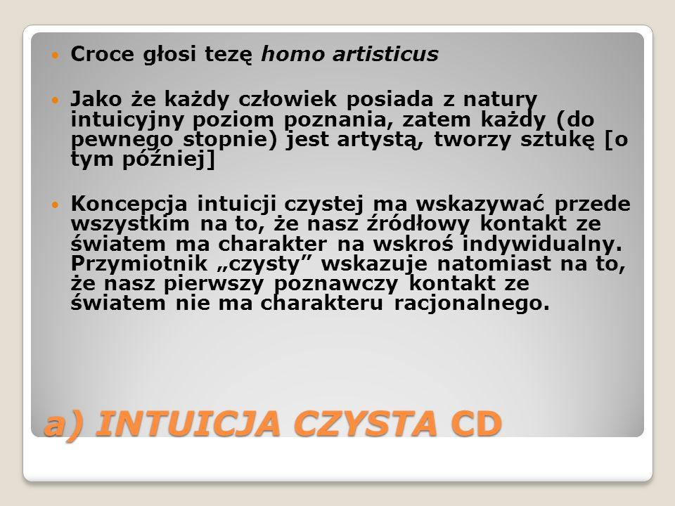 a) INTUICJA CZYSTA CD Croce głosi tezę homo artisticus Jako że każdy człowiek posiada z natury intuicyjny poziom poznania, zatem każdy (do pewnego sto
