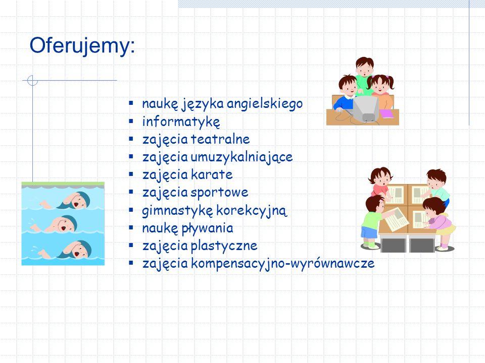 W szkole działa: Koło komputerowe Szkolne koło PCK Szkolne koło Caritas Świetlica szkolna Teatrzyk Szkolny Koło Matematyczne Samorząd Szkolny