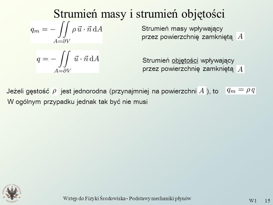 Wstęp do Fizyki Środowiska - Podstawy mechaniki płynów W1 15 Strumień masy i strumień objętości Strumień masy wpływający przez powierzchnię zamkniętą