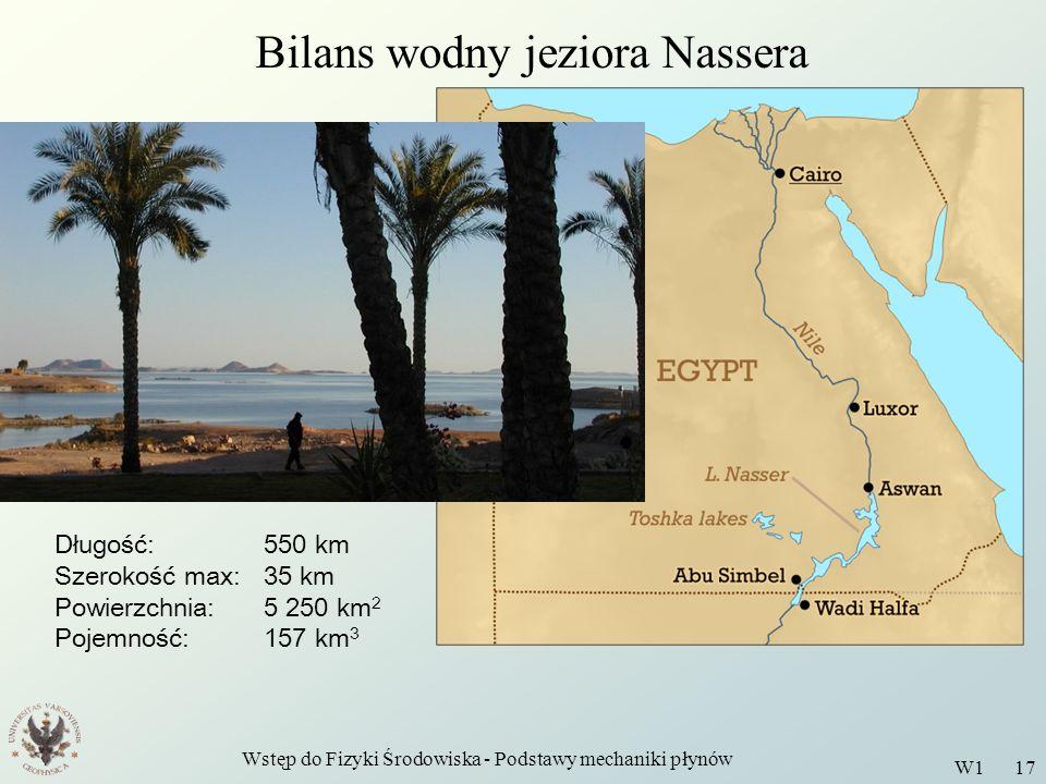 Wstęp do Fizyki Środowiska - Podstawy mechaniki płynów W1 17 Bilans wodny jeziora Nassera Długość: 550 km Szerokość max:35 km Powierzchnia:5 250 km 2