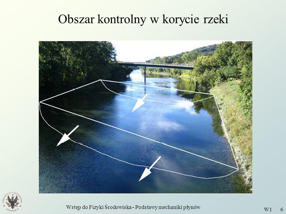 Wstęp do Fizyki Środowiska - Podstawy mechaniki płynów W1 6 Obszar kontrolny w korycie rzeki