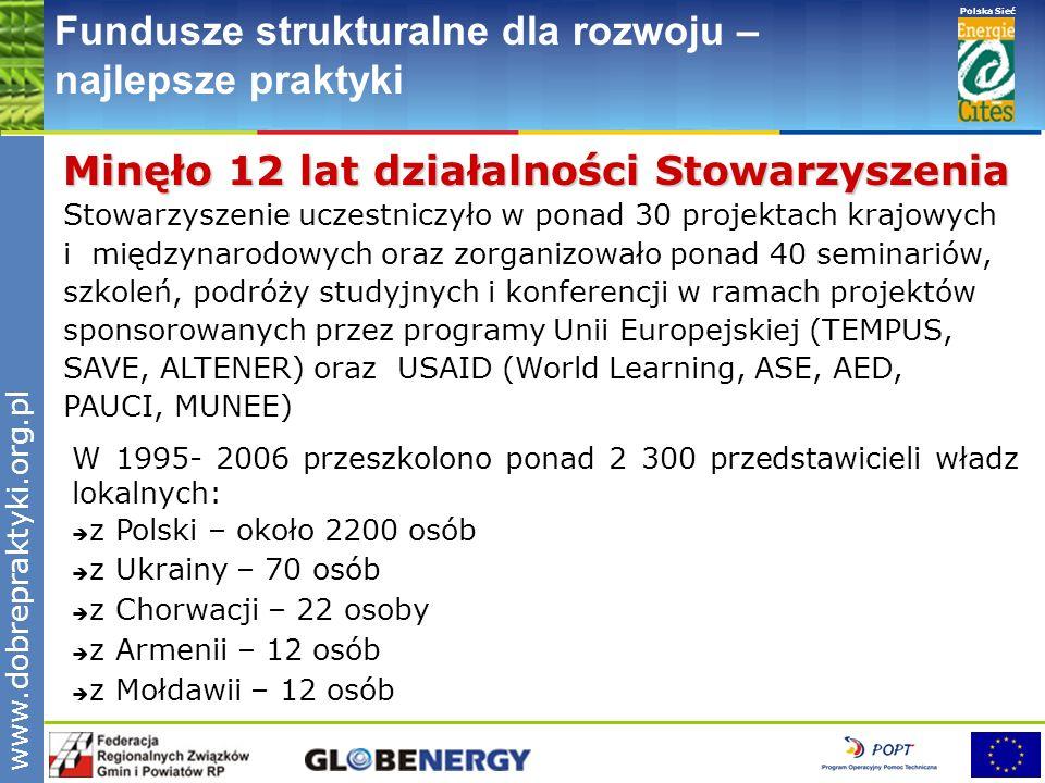www.pnec.org.pl Polska Sieć www.dobrepraktyki.org.pl Fundusze strukturalne dla rozwoju – najlepsze praktyki Fundusze strukturalne dla rozwoju – najlepsze praktyki, maj 2006 – grudzień 2006 r.