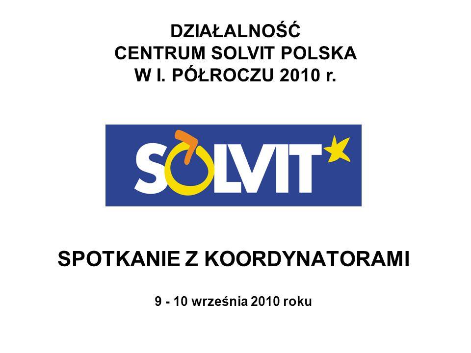 DZIAŁALNOŚĆ CENTRUM SOLVIT POLSKA W I. PÓŁROCZU 2010 r. SPOTKANIE Z KOORDYNATORAMI 9 - 10 września 2010 roku