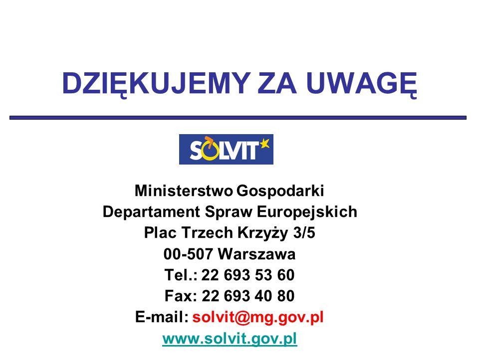 DZIĘKUJEMY ZA UWAGĘ Ministerstwo Gospodarki Departament Spraw Europejskich Plac Trzech Krzyży 3/5 00-507 Warszawa Tel.: 22 693 53 60 Fax: 22 693 40 80