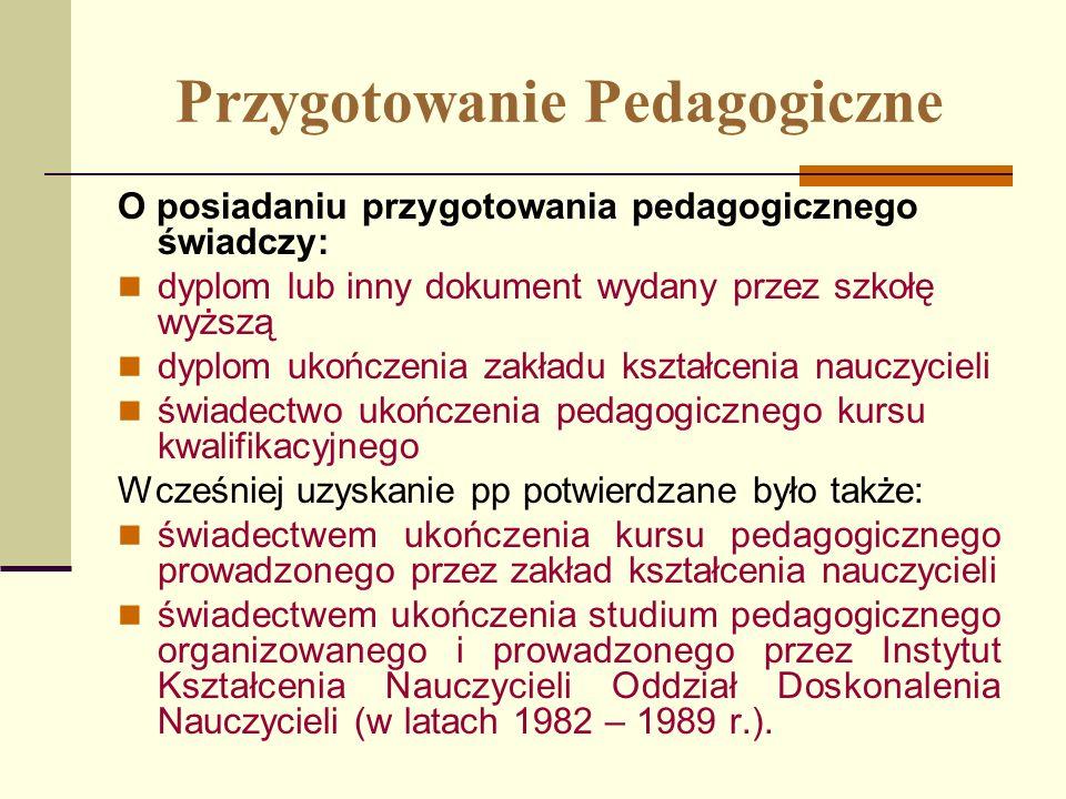 Przygotowanie Pedagogiczne O posiadaniu przygotowania pedagogicznego świadczy: dyplom lub inny dokument wydany przez szkołę wyższą dyplom ukończenia z