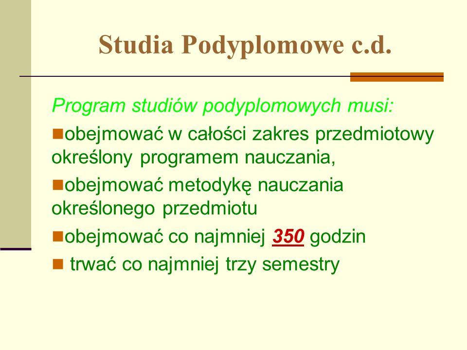 Studia Podyplomowe c.d. Program studiów podyplomowych musi: obejmować w całości zakres przedmiotowy określony programem nauczania, obejmować metodykę