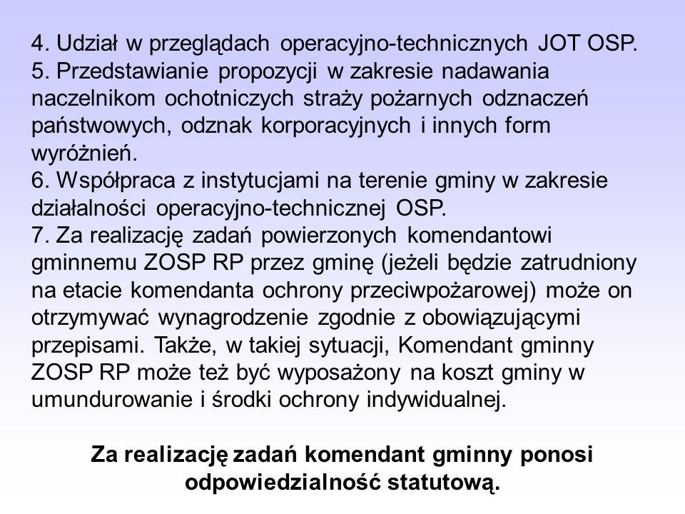 4. Udział w przeglądach operacyjno-technicznych JOT OSP. 5. Przedstawianie propozycji w zakresie nadawania naczelnikom ochotniczych straży pożarnych o
