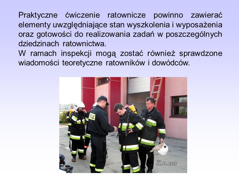 Praktyczne ćwiczenie ratownicze powinno zawierać elementy uwzględniające stan wyszkolenia i wyposażenia oraz gotowości do realizowania zadań w poszcze