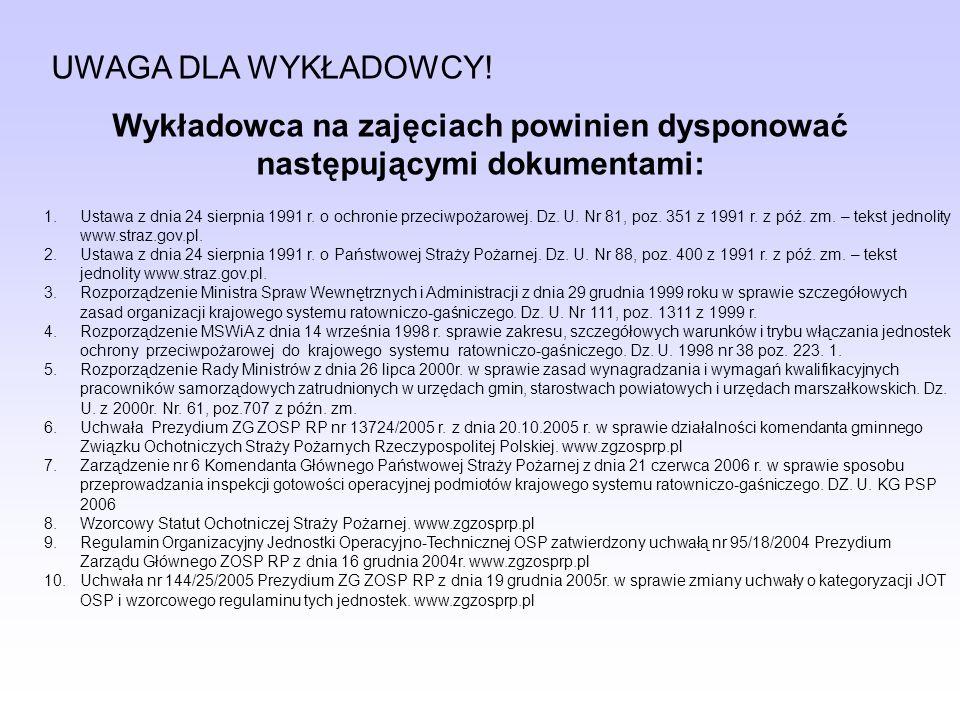 UWAGA DLA WYKŁADOWCY! Wykładowca na zajęciach powinien dysponować następującymi dokumentami: 1.Ustawa z dnia 24 sierpnia 1991 r. o ochronie przeciwpoż