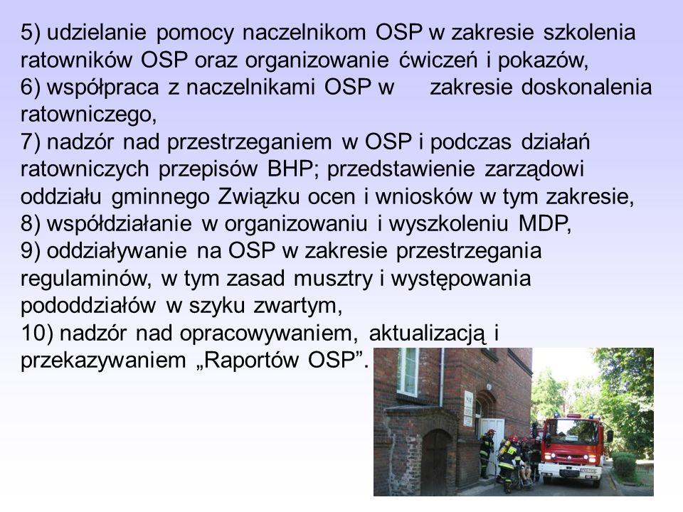 5) udzielanie pomocy naczelnikom OSP w zakresie szkolenia ratowników OSP oraz organizowanie ćwiczeń i pokazów, 6) współpraca z naczelnikami OSP wzakre