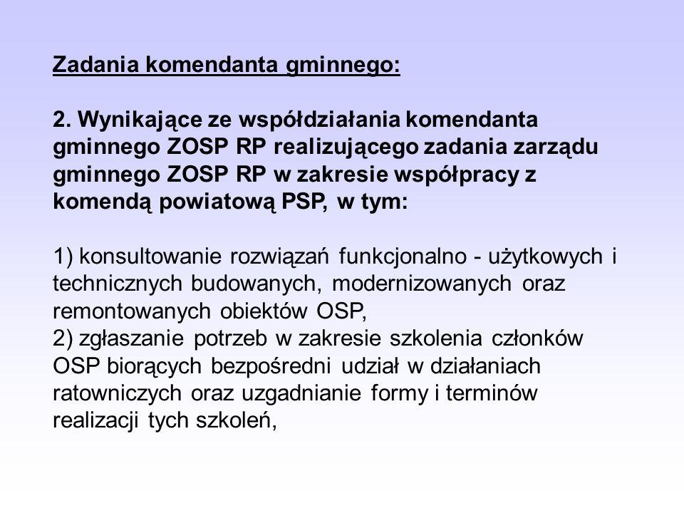 Zadania komendanta gminnego: 2. Wynikające ze współdziałania komendanta gminnego ZOSP RP realizującego zadania zarządu gminnego ZOSP RP w zakresie wsp