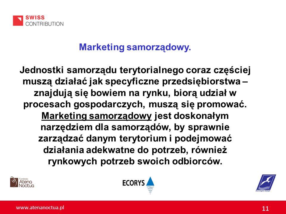 www.atenanoctua.pl 11 Marketing samorządowy. Jednostki samorządu terytorialnego coraz częściej muszą działać jak specyficzne przedsiębiorstwa – znajdu
