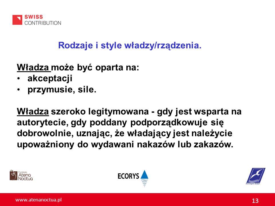 www.atenanoctua.pl 13 Rodzaje i style władzy/rządzenia. Władza może być oparta na: akceptacji przymusie, sile. Władza szeroko legitymowana - gdy jest