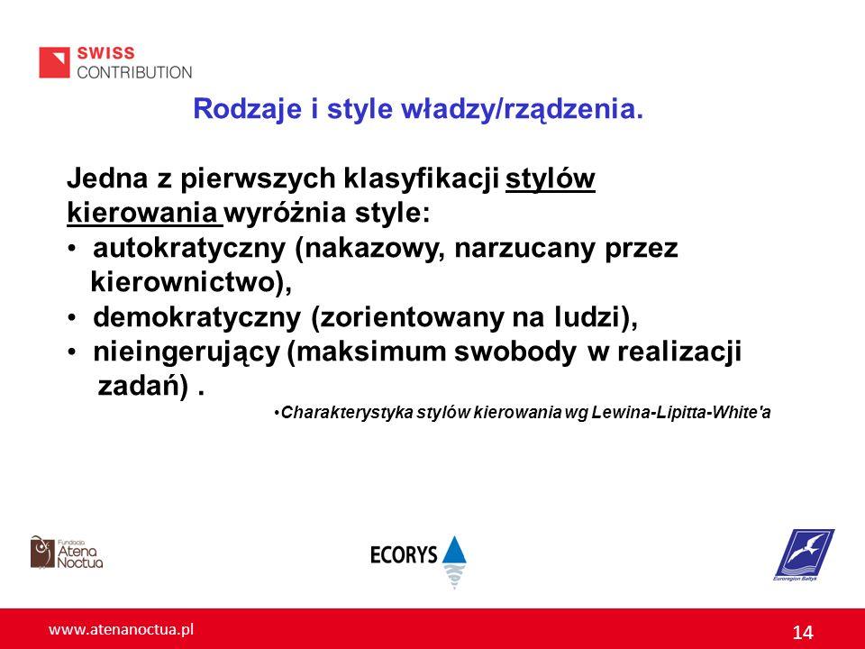 www.atenanoctua.pl 14 Rodzaje i style władzy/rządzenia. Jedna z pierwszych klasyfikacji stylów kierowania wyróżnia style: autokratyczny (nakazowy, nar