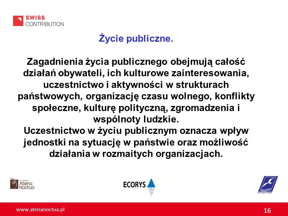 www.atenanoctua.pl 16 Życie publiczne. Zagadnienia życia publicznego obejmują całość działań obywateli, ich kulturowe zainteresowania, uczestnictwo i