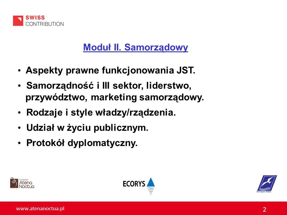 www.atenanoctua.pl 2 Moduł II. Samorządowy Aspekty prawne funkcjonowania JST. Samorządność i III sektor, liderstwo, przywództwo, marketing samorządowy
