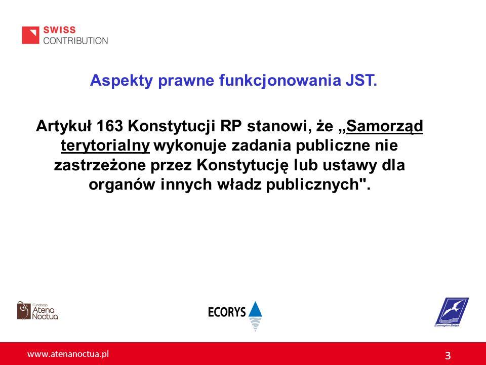 www.atenanoctua.pl 3 Aspekty prawne funkcjonowania JST. Artykuł 163 Konstytucji RP stanowi, że Samorząd terytorialny wykonuje zadania publiczne nie za