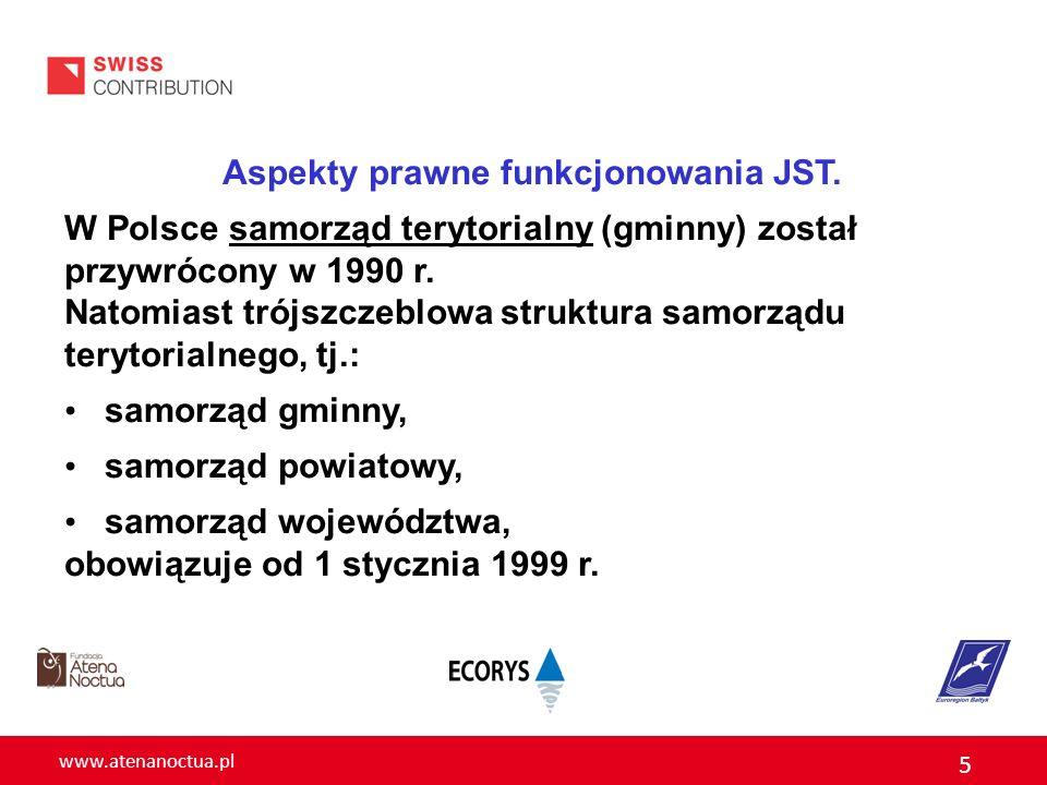 www.atenanoctua.pl 5 Aspekty prawne funkcjonowania JST. W Polsce samorząd terytorialny (gminny) został przywrócony w 1990 r. Natomiast trójszczeblowa